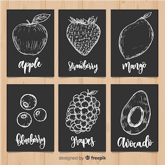 Blackboard fruit food card set