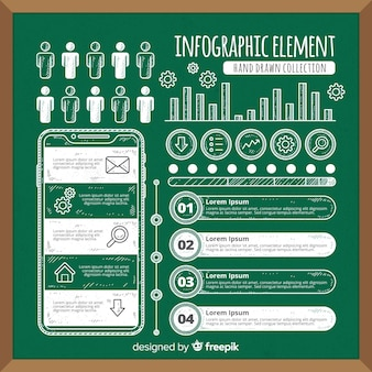 Blackboard infographic element collection