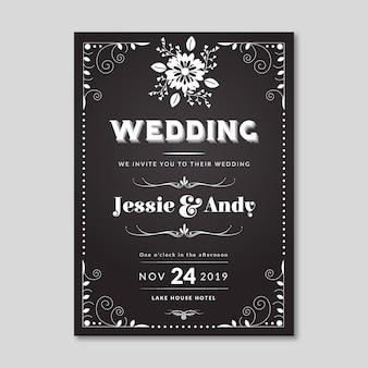 Blackboard invitation template for wedding
