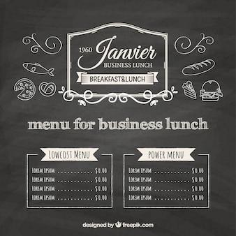 Blackboard menu for business lunch background