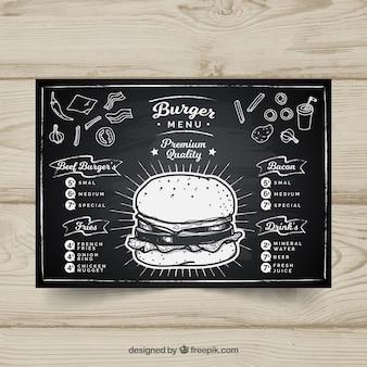 Modello di menu lavagna in formato orizzontale
