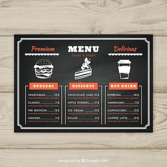 Modello di menu lavagna