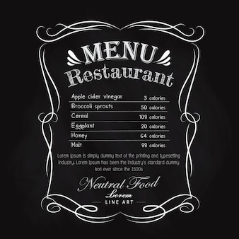 Blackboard restaurant menu hand drawn frame vintage vector