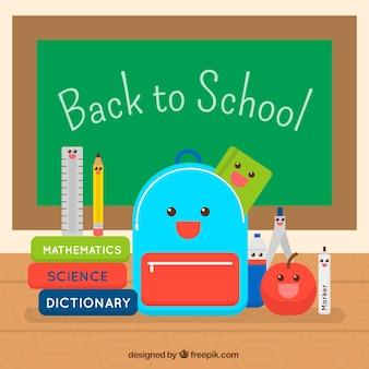 Materiali scolastici e smiley