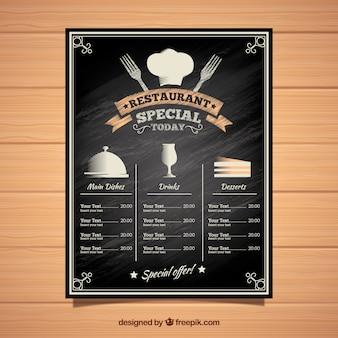 Modello di menu ristorante stile lavagna