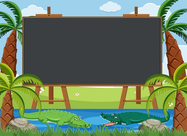 Blackboard template design with crocodiles in the river