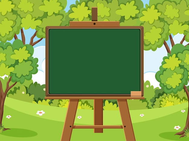 Blackboard template design with many green trees in forest