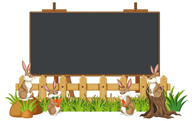 Blackboard template design with many rabbits in the garden