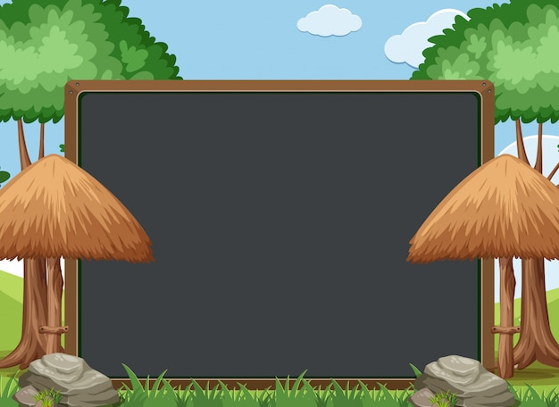 Blackboard template design with trees and umbrellas in garden