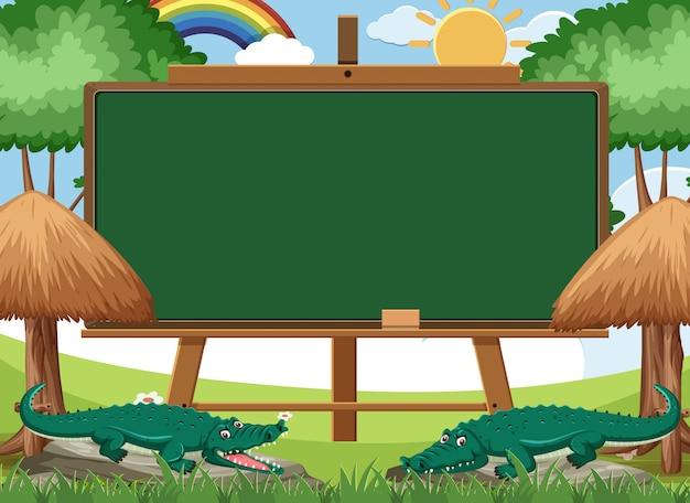 公園で2つのワニと黒板テンプレートデザイン