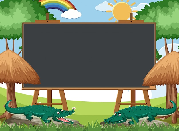 Blackboard template with crocodiles in the park