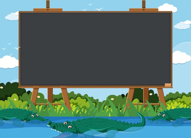 Blackboard template with crocodiles in the river