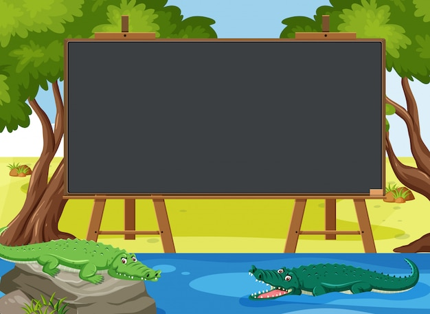 Blackboard template with crocodiles swimming in the park