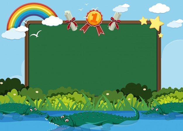 Blackboard template with crocodiles swimming in the pond