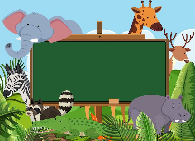 Blackboard template with wild animals in the park