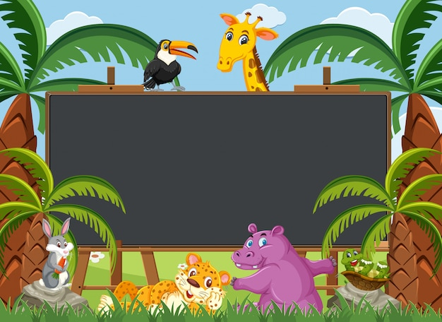 Blackboard template with wild animals in the woods