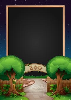 Modello di lavagna con zoo sullo sfondo
