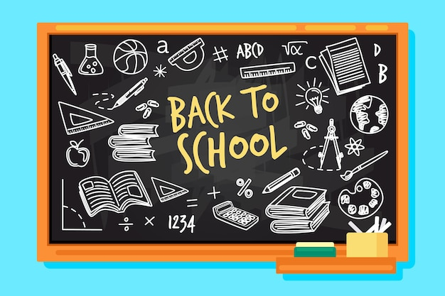 Blackboard with back to school