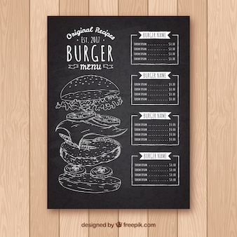 Blackboard with burger menu template
