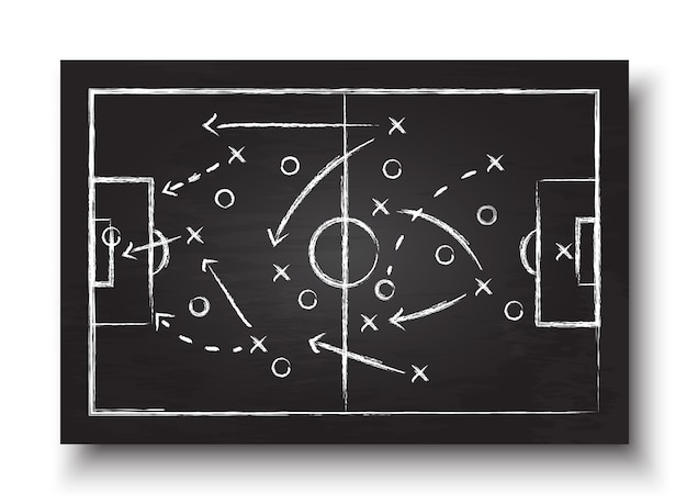 Blackboard with football game strategy.