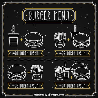 Blackboard with four burger menus