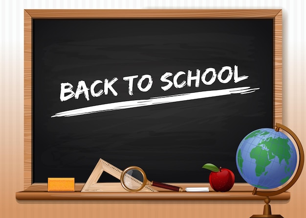 Blackboard with school supplies. inscription in chalk on a chalkboard - back to school. concept design for the knowledge day. vector illustration
