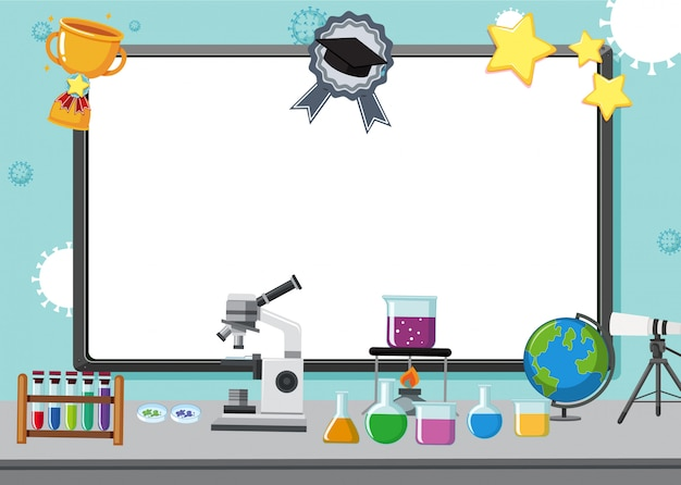 Blackboard with science equipments on the lab table