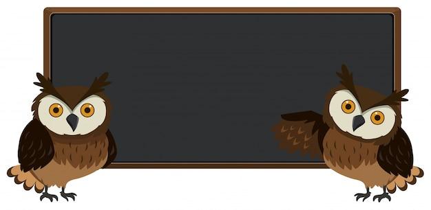 両面に2つのフクロウがある黒板 Premiumベクター