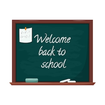 Blackboard with words back to school. a sheet of notes is attached with a button. copy space. flat
