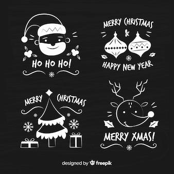 Коллекция рождественских наклеек blackboard