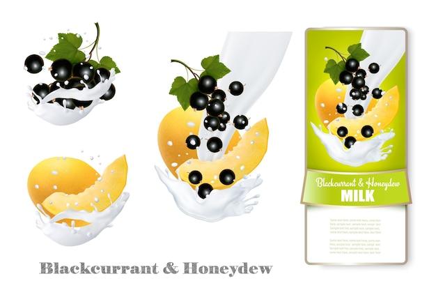 Blackcurrant and honeydew melon in milk splashes.