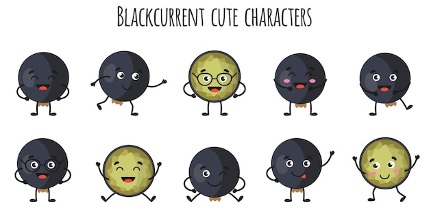 Blackcurrent fruit cute funny cheerful characters with different poses and emotions. natural vitamin antioxidant detox food collection.   cartoon isolated illustration.