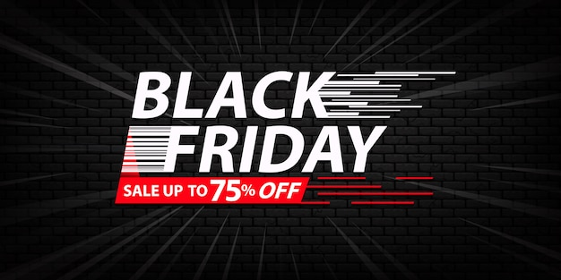 Blackfriday sale banner template with dark bricks background