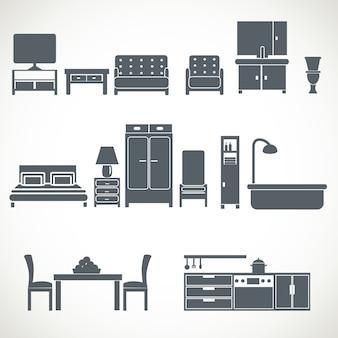 家庭用家具デザインblackiconsセット