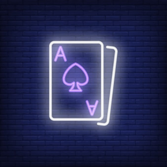 Blackjack cards neon sign element. gambling concept for night bright advertisement.