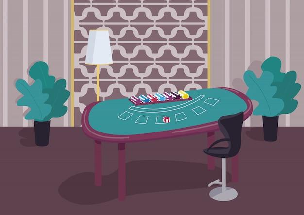 ブラックジャックグリーンテーブルフラットカラーイラスト。カードゲームをプレイするためのカウンター。賭けをするためのチップのスタック。ギャンブル宝くじ。背景に豪華な装飾が施されたカジノルーム2d漫画インテリア
