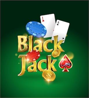 カード、チップ、お金と緑の背景にブラックジャックのロゴ。トランプゲーム。カジノゲーム。図