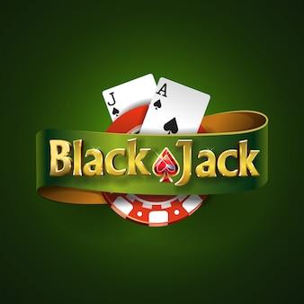 分離された緑のリボンと緑の背景にブラックジャックのロゴ。トランプゲーム。カジノゲーム Premiumベクター