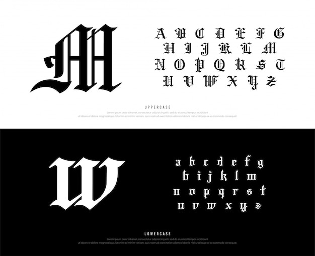 Blackletter gothic alphabet font. typography classic