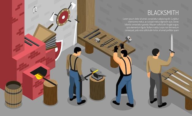 철 제품 수평 작업장 인테리어 요소의 마스터와 대장장이 공예 아이소 메트릭 구성