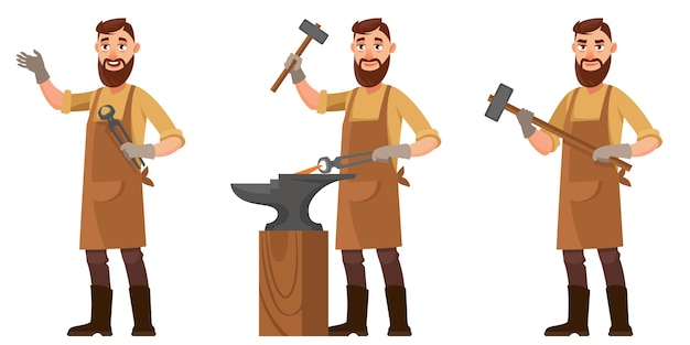 Blacksmith in different poses. male character in cartoon style.