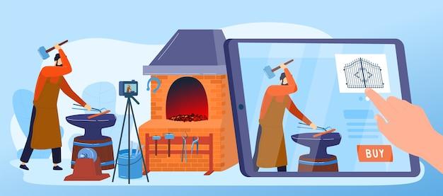 Blacksmith metal work ordering  illustration.