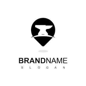 Шаблон дизайна логотипа место кузнеца