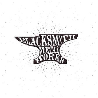 Blacksmith typography, lettering inside the anvil.