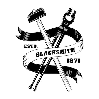 Blacksmiths instrument vector illustration. crossed hammers, pliers, ribbon with text. craft and metalwork concept for emblems or labels templates