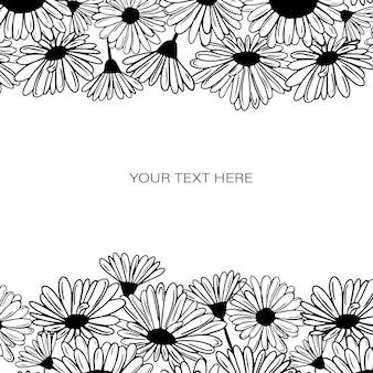 중간에 텍스트가 있는 꽃 하단 및 상단 꽃이 있는 흑백 프레임