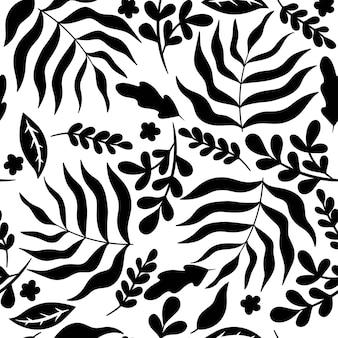 Blackwhite бесшовные модели с листьями