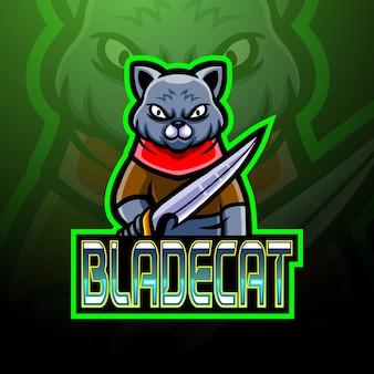 Blade cat e sport logo mascot design