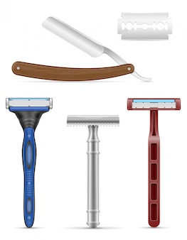 Blade and razor for shaving stock vector illustration