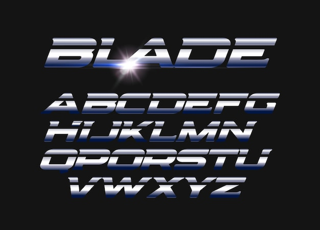 Blade vector letters set. slashed alphabet with sleek steel texture. sleek metal style vector latin alphabet. typography design.